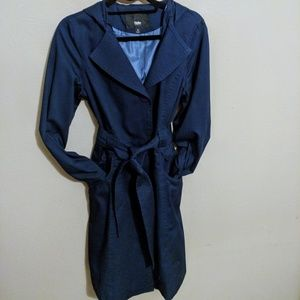 Mossimo blue trench with hood